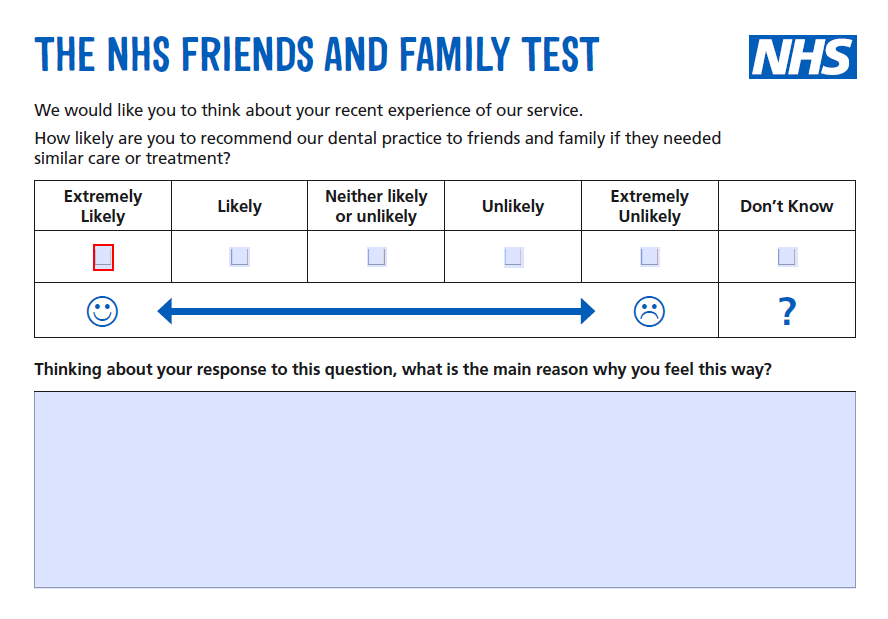NHS Friends and Family Test Paper Survey Form | Patient